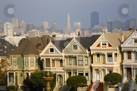 Victorian Houses Modern Skyscrapers San Francisco Skyline Califo stock photo, Victorian Houses Modern Skyscrapers San Francisco Skyline California by William Perry