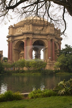Pink Dome Green Grass Palace of Fine Arts Museum San Francisco C stock photo, Pink Orange Dome Green Grass Garden Reflections Palace of Fine Arts Museum San Francisco California by William Perry