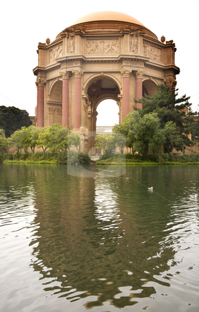 Palace of Fine Arts Museum San Francisco California stock photo, Grecian Columns Reflections Palace of Fine Arts Museum San Francisco California by William Perry