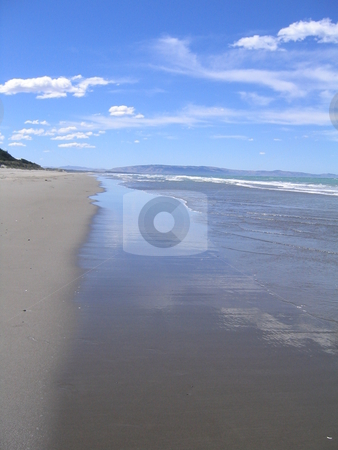 Deserted Beach in New Zealand stock photo, Deserted Beach in the South Island of New Zealand by Michael Santero