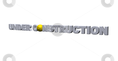 Under construction stock photo, The words under construction with smiley - 3d illustration by J?