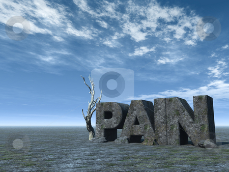Pain stock photo, The word pain in stone at desert landscape - 3d illustration by J?