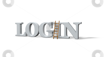 Login stock photo, The word login and a ladder on white background - 3d illustration by J?