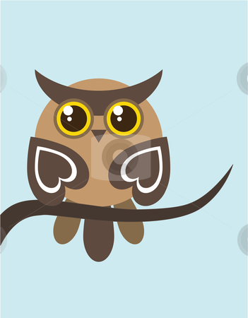 Owl on Tree Branch stock vector clipart, Vector illustration of a single owl on a tree branch by Inge Schepers