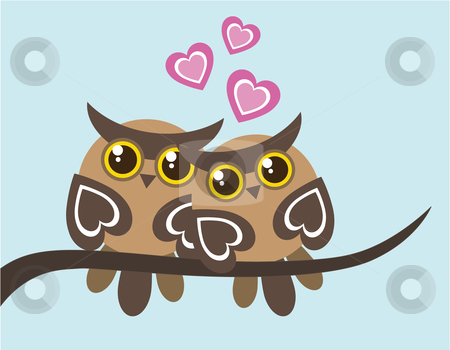 Owls in Love stock vector clipart, Vector illustration of two owls in love sitting on a tree branch, with some small pink hearts by Inge Schepers