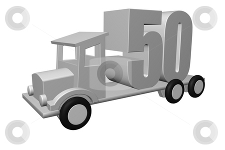 Fifty stock photo, The number fifty - 50 - on an old truck - 3d illustration by J?
