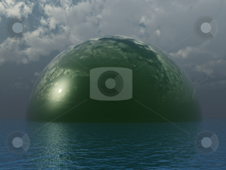 Glass dome stock photo, Green glass dome at the ocean - 3d illustration by J?