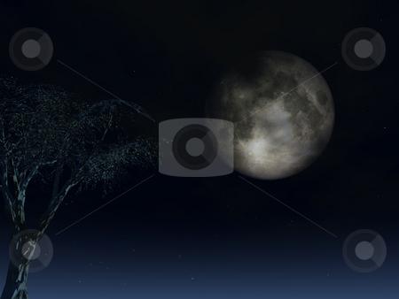 Full moon stock photo, Full moon and  tree at night - 3d illustration by J?