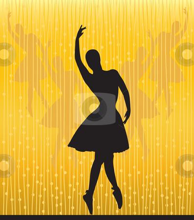 Ballet stock vector clipart, Dancing ballerina silhouette on an abstract background by Rositsa Maslarska