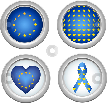 Europe Buttons stock vector clipart, European Union Buttons with heart, flag and ribbon by Augusto Cabral Graphiste Rennes