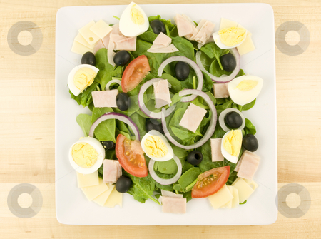 Cobb Salad stock photo, Cobb Salad with onions tomato olive and eggs by John Teeter