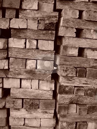 Stacked Wood stock photo, Stacks of cut wood, stored for later use. by Rebecca Ledford