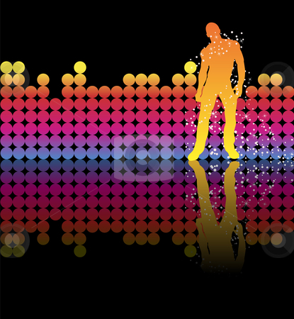 Boy Rainbow Stars stock vector clipart, Sexy boy dancing on a rainbow background by Augusto Cabral Graphiste Rennes