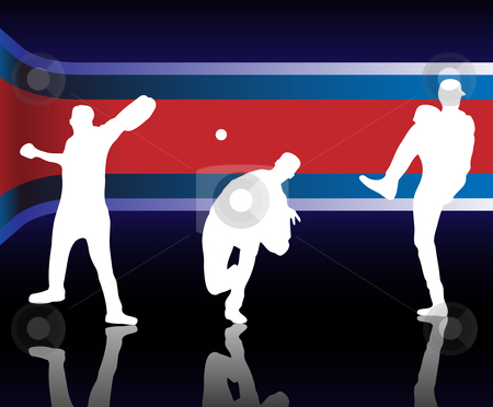 Baseball American stock vector clipart, Baseballer  Silhouette with United States of America Background by AUGUSTO CABRAL