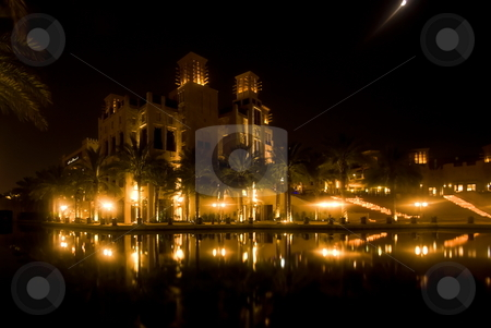Madinat Jumeihra at night stock photo, View of the Madinat Jumeihra at night by Roman Kalashnikov