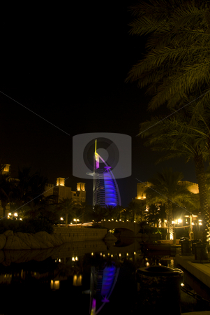 View of Burj Al Arab stock photo, Night view of Burj Al Arab with colorfull illumination by Roman Kalashnikov