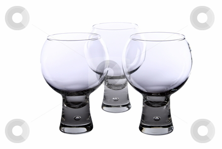 Set of cognac glasses stock photo, Set of three cognac glasses on white background by Roman Kalashnikov