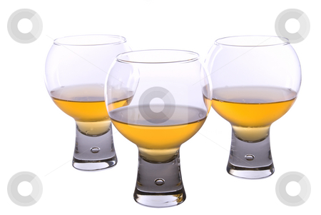 Set of three cognac glasses on white background stock photo, Set of cognac glasses by Roman Kalashnikov