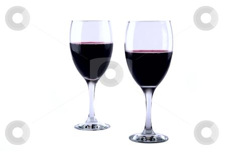Wine Glasses stock photo, Set of two full wine glasses on white background by Roman Kalashnikov