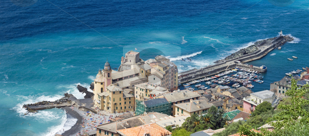 Camogli, aerial view stock photo, Aerial view of Camogli. a  characteristic famous little town near Genova, Italy by ANTONIO SCARPI