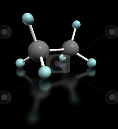 Etano Nero stock photo, 3d render molecular model of ethane on black background by ANTONIO SCARPI