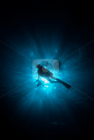 Underneath view of an underwater photographer silhouetted agains stock photo, Underneath view of an underwater photographer silhouetted against the sun. Red Sea, Egypt by Mark Doherty