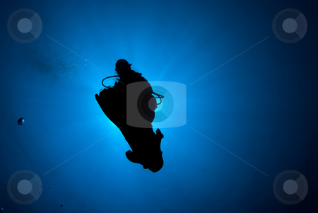 Silhouette of a diver  stock photo, Silhouette of a diver completing a saftey stop. Red Sea, Egypt by Mark Doherty