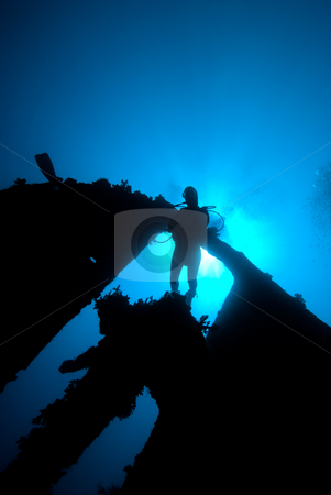 Underneath view of a diver passing through the stern section of  stock photo, Underneath view of a diver passing through the stern section of the shipwreck, Dunraven. Red Sea, Egypt. by Mark Doherty