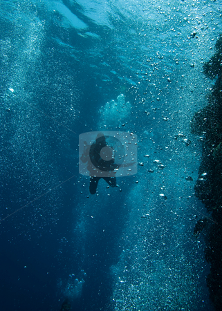 Diver in a sea of bubbles. stock photo, Diver in a sea of bubbles. by Mark Doherty