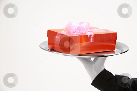 Man holding present  stock photo, Man holding exclusive presents to someone special by eskaylim
