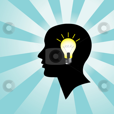 Head with Light Bulb stock vector clipart, Silhoutette of a human head with a burning light bulb, representing a person who has an idea by Inge Schepers