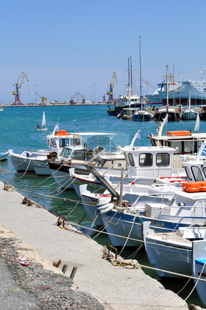 Mediterranean port stock photo, Travel photography: Different types of boats at the Irakleio port, Greece by Fernando Barozza