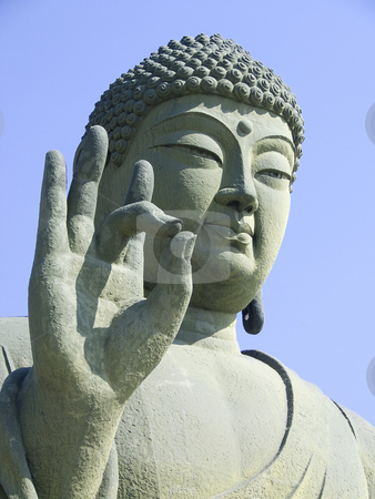 Green Buddha stock photo, Large seated Green Buddha statue situated in Cheonan, South Korea. by Jennifer Vey