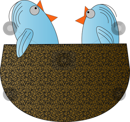 Birds Nest stock vector clipart, Illustration made in Adobe Illustrator. by W. Paul Thomas