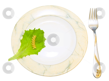 Plate  stock photo, Isolated plate and fork with salad and pasta against the white background by Sergej Razvodovskij