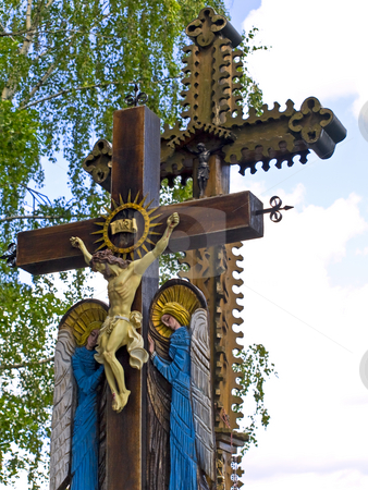 Roods  stock photo, Two  wooden roods with crucifixion on it by Sergej Razvodovskij