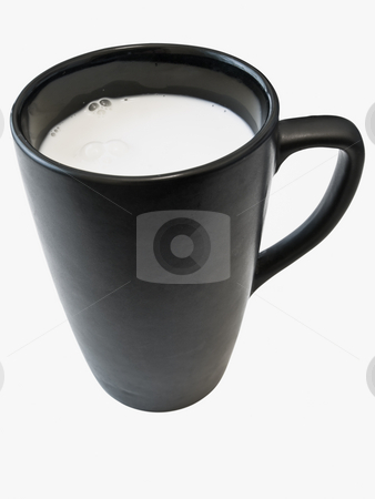 Isolated cup with milk stock photo, Isolated black cup with white milk against the white background by Sergej Razvodovskij