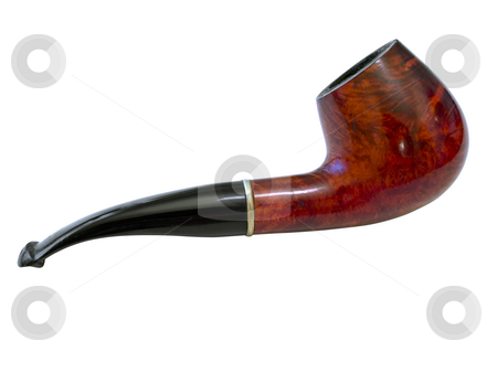 Pipe  stock photo, Single isolated  tobacco pipe against the white background by Sergej Razvodovskij