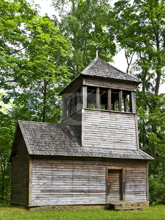 Chapel  stock photo, Old wooden chapel in the forest by Sergej Razvodovskij