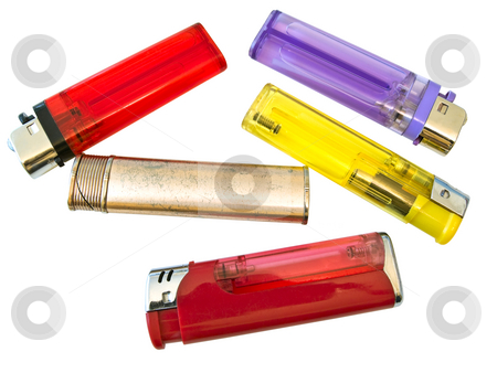 Lighter  stock photo, Some isolated multicolored lighters against the white background by Sergej Razvodovskij