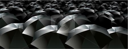 Umbrellas brollys crowd rain stock vector clipart, Umbrellas brollies crowd rain dark by William Park