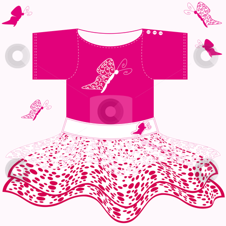 Baby girl dress stock vector clipart, Sweet pink baby dress with white lace and butterflies by Karin Claus
