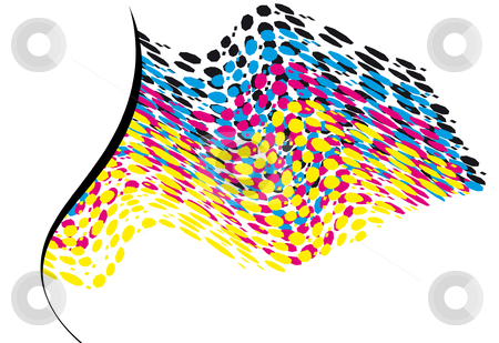 Wavy CMYK spots with copy space horizontal stock vector clipart, Template of wavy CMYK spots with copy space horizontal by Karin Claus