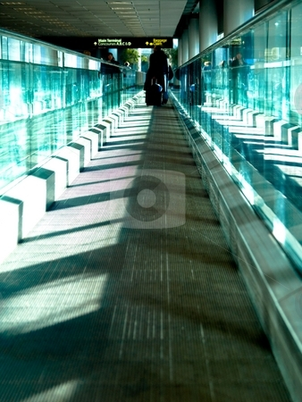 Walkway stock photo, A moving walkway at an airport by Cora Reed