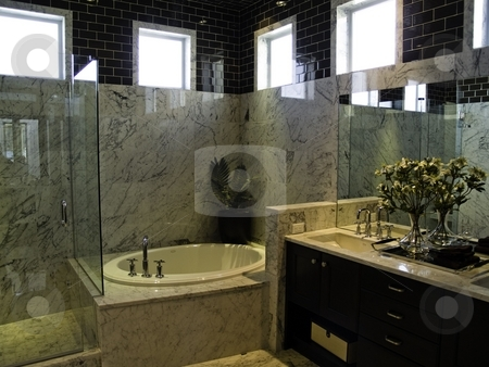 Bathroom stock photo, An elegant modern bathroom with marble by Cora Reed