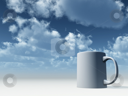 Mug stock photo, White mug in front of blue cloudy sky - 3d illustration by J?