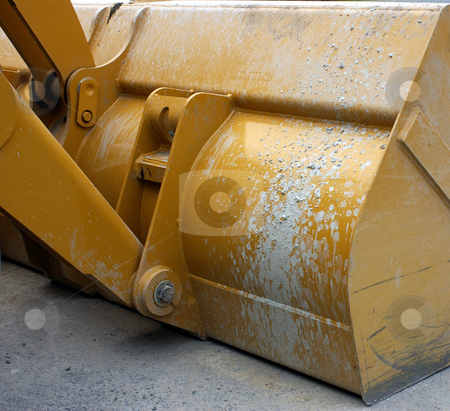 Backhoe Bucket stock photo, A back view of a backhoe or loader bucket. by Tom Weatherhead