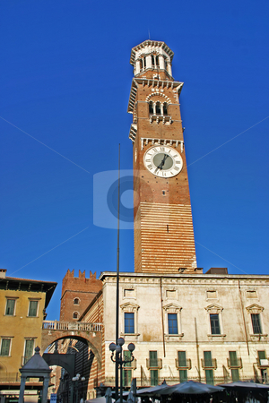 View of the Lamberti Tower in Verona, Italy stock photo, View of the Lamberti Tower and Whalebone Arch in the Piazza delle Erbe in Verona, Italy by Stephen Goodwin
