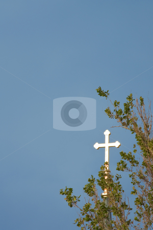 Glowing cross against a blue sky vertical stock photo, Glowing Christian cross against a blue sky with leaves of a sycamore tree and copy space vertical by Stephen Goodwin