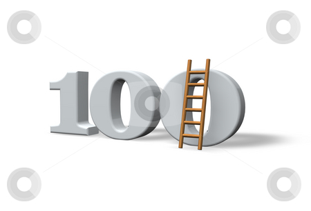 One hundred stock photo, The number one hundred and a ladder on white background - 3d illustration by J?